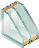 Glasmuster-Schallschutz-3er